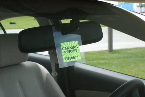 hang tag on rear view mirror